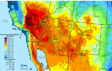 U.S. South West Solar Radiation Map